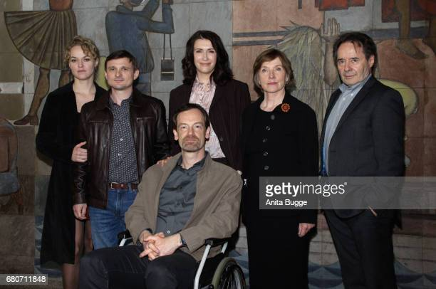 Actors Lisa Wagner Florian Lukas Joerg Hartmann Claudia Mehnert Ruth Reinecke and Uwe Kockisch attend the photo call for the new season of the...