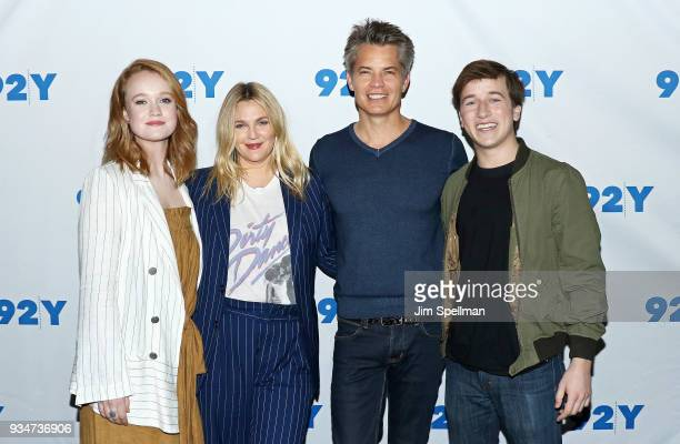 Actors Liv Hewson Drew Barrymore Timothy Olyphant and Skyler Gisondo in conversation with Vanity Fair's Mike Hogan at Kaufman Concert Hall on March...