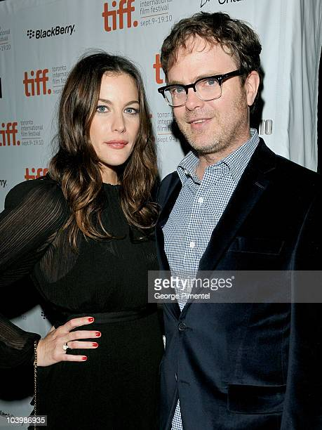 Actors Liv Tyler and Rain Wilson arrive Super Premiere held at Ryerson Theatre during the 35th Toronto International Film Festival on September 10...