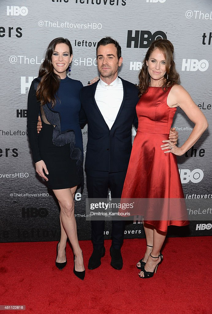 Actors Liv Tyler, Justin Theroux and Amy Brenneman attend 'The Leftovers' premiere at NYU Skirball Center on June 23, 2014 in New York City.