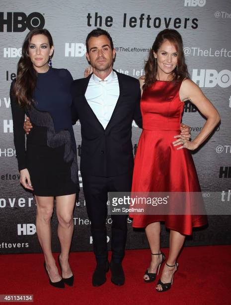 Actors Liv Tyler Justin Theroux and Amy Brenneman attend The Leftovers premiere at NYU Skirball Center on June 23 2014 in New York City