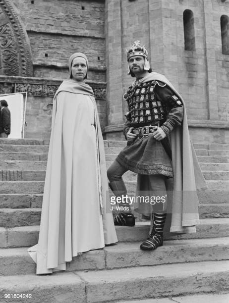 Actors Liv Ullmann and Franco Nero as Pope Joan and Louis during the filming of 'Pope Joan' at Bray Studios UK circa 1972 The film is directed by...