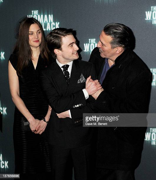 Actors Liz White Daniel Radcliffe and Ciaran Hinds attend the World Premiere of 'The Woman In Black' at the Royal Festival Hall on January 24 2012 in...