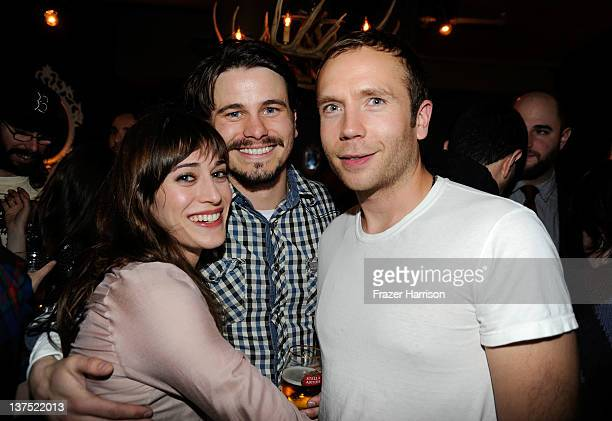 Actors Lizzy Caplan Jason Ritter and Mark Webber attend Sheets Energy Presents The Save The Date And End Of Love Party At Stella Artois By Ally B At...