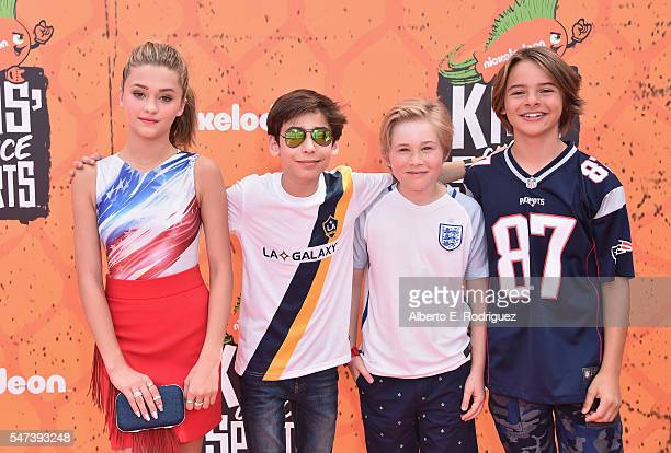 Actors Lizzy Greene Aidan Gallagher Casey Simpson and Mace Coronel attend the Nickelodeon Kids' Choice Sports Awards 2016 at UCLA's Pauley Pavilion...