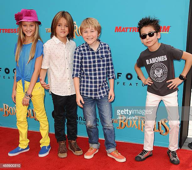 Actors Lizzy Greene Mace Coronel Casey Simpson and Aidan Gallagher attends the premiere of 'The Boxtrolls' at Universal CityWalk on September 21 2014...