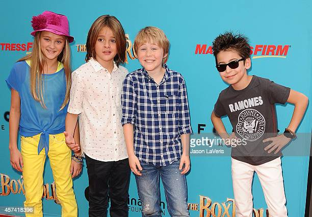 Actors Lizzy Greene Mace Coronel Casey Simpson and Aidan Gallagher attend the premiere of The Boxtrolls at Universal CityWalk on September 21 2014 in...
