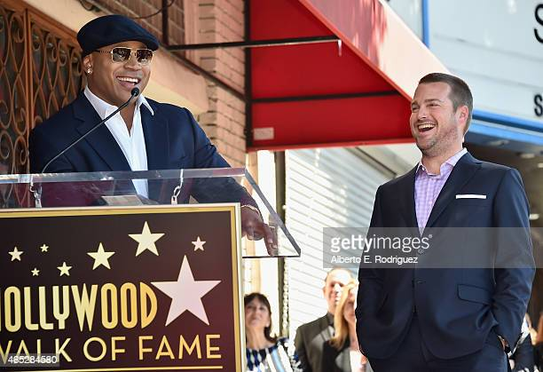 Actors LL Cool J and Chris O'Donnell attend a ceremony honoring Chris O'Donnell with the 2544th Star on Hollywood Walk Of Fame on March 5 2015 in...