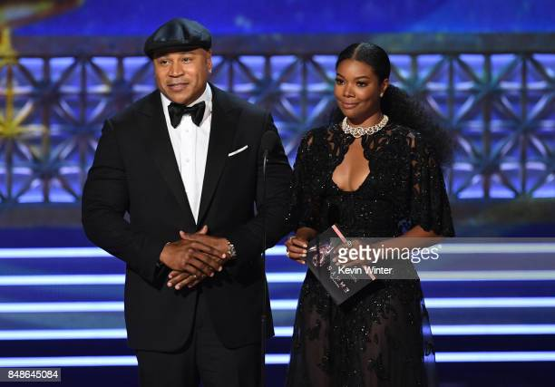 Actors LL Cool J and Gabrielle Union speak onstage during the 69th Annual Primetime Emmy Awards at Microsoft Theater on September 17 2017 in Los...