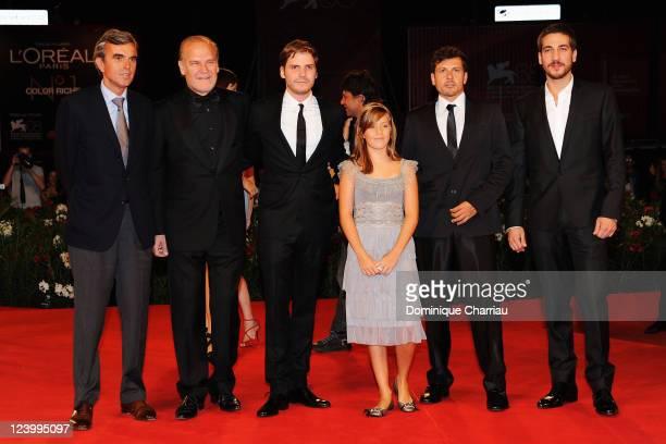 Actors Lluis Homar Daniel Bruhl Claudia Vega director Kike Maillo and actor Alberto Ammann attend the Eva Premiere during the 68th Venice...