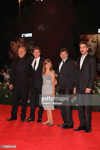 Actors Lluis HomarDaniel BruhlClaudia Vega director Kike Maillo and actor Alberto Ammann attend the Eva premiere during the 68th Venice Film Festival...