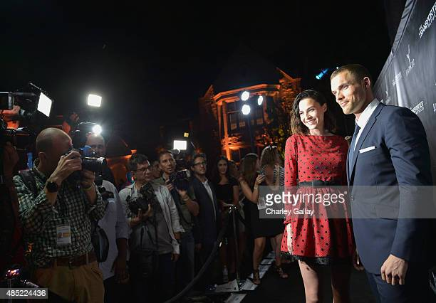Actors Loan Chabanol and Ed Skrein attend a Special Screening and AfterParty for EuropaCorp's 'The Transporter Refueled' held at the Playboy Mansion...