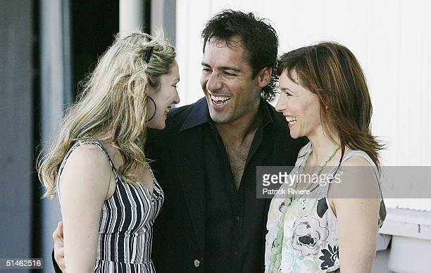 Actors Loene Carmen Alex Dimitriades and Claudia Karvan attend the Lexus IF Awards Nomination Launch at Doltone House on October 11 2004 in Sydney...