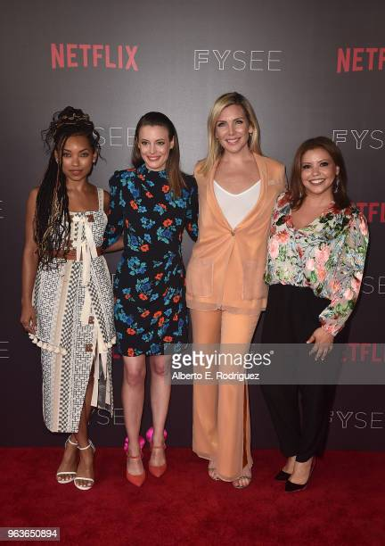 Actors Logan Browning Gillian Jacobs June Diane Raphael and Justina Machado attend Comediennes In Conversation at Netflix FYSEE at Raleigh Studios on...