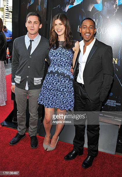 Actors Logan Lerman Alexandra Daddario and Brandon T Jackson arrive at the premiere of 'Percy Jackson Sea Of Monsters' at The Americana at Brand on...