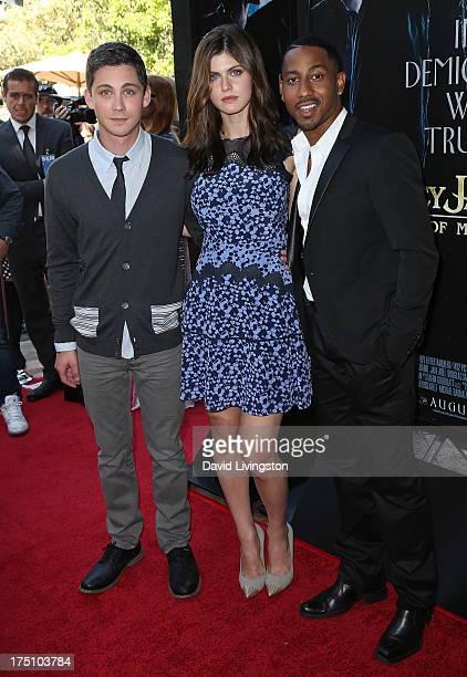Actors Logan Lerman Alexandra Daddario and Brandon T Jackson attend a screening of Twentieth Century Fox and Fox 2000's Percy Jackson Sea of Monsters...