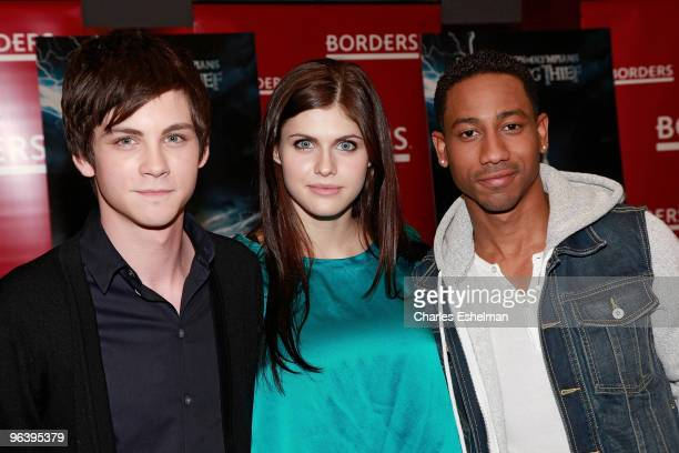 Actors Logan Lerman Alexandra Daddario and Brandon T Jackson attend a meet and greet with the cast of 'Percy Jackson And The Olympians The Lightning...