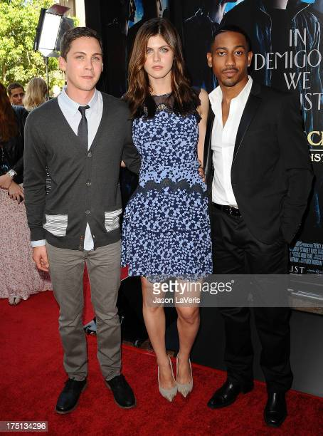 Actors Logan Lerman Alexandra Daddario and Brandon T Jackson attend the premiere of Percy Jackson Sea Of Monsters at The Americana at Brand on July...