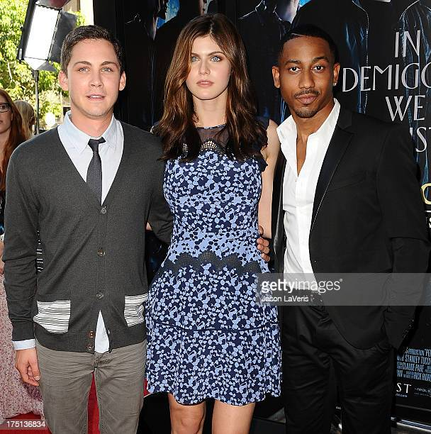 Actors Logan Lerman Alexandra Daddario and Brandon T Jackson attend the premiere of 'Percy Jackson Sea Of Monsters' at The Americana at Brand on July...