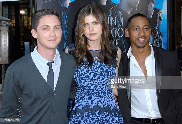 Actors Logan Lerman Alexandra Daddario and Brandon T Jackson attend the premiere of 'Percy Jackson Sea Of Monsters' on July 31 2013 at The Americana...