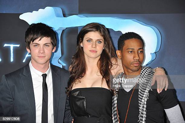 Actors Logan Lerman Alexandra Daddario and Brandon T Jackson attend the premiere of 'Avatar' held at Gruaman's Chinese Theater