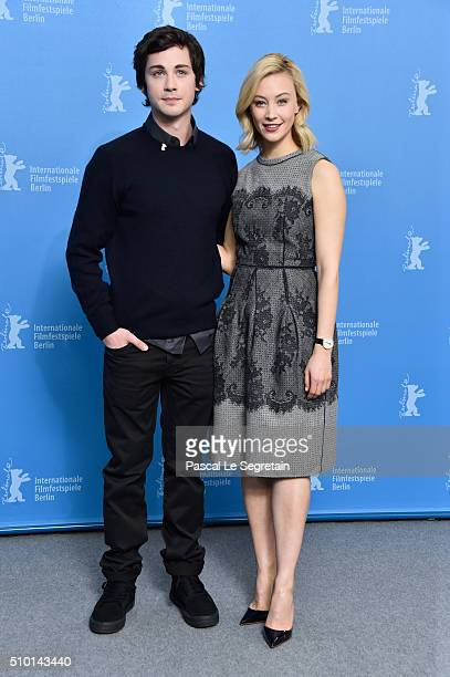 Actors Logan Lerman and Sarah Gadon attend the 'Indignation' photo call during the 66th Berlinale International Film Festival Berlin at Grand Hyatt...