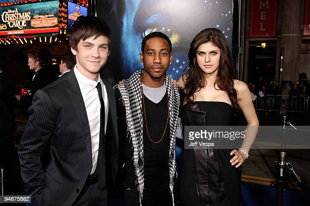 Actors Logan Lerman Brandon T Jackson and Alexandra Daddario attend the 'Avatar' Los Angeles premiere at Grauman's Chinese Theatre on December 16...