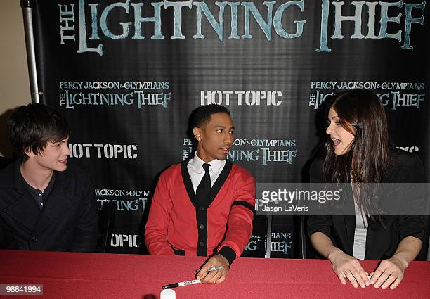 Actors Logan Lerman Brandon T Jackson and Alexandra Daddario attend the 'Percy Jackson The Olympians The Lightning Thief' cast appearance at Hot...