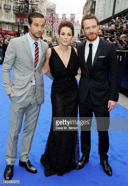 Actors Logan MarshallGreen Noomi Rapace and Michael Fassbender attend the World Premiere of 'Prometheus' at Empire Leicester Square on May 31 2012 in...