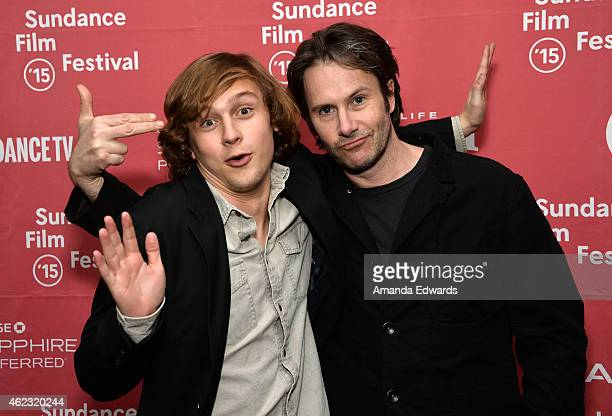 Actors Logan Miller and Josh Hamilton attend the Take Me To The River premiere during the 2015 Sundance Film Festival on January 26 2015 in Park City...