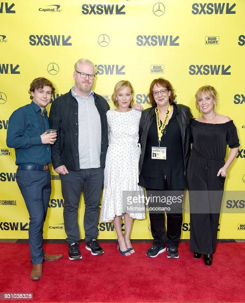 Actors Logan Miller Samantha Mathis and Jim Gaffigan SXSW director of film Janet Pierson and director Miranda Bailey attend the 'You Can Choose Your...