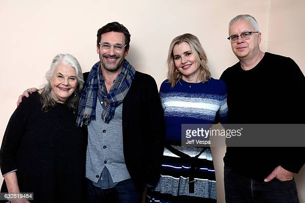 Actor's Lois Smith Jon Hamm Geena Davis and Tim Robbins from the film 'Marjorie Prime' pose for a portrait in the WireImage Portrait Studio presented...
