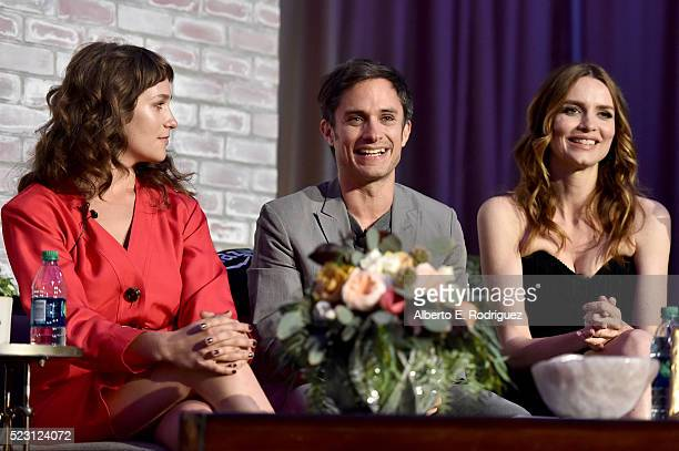 Actors Lola Kirke Gael García Bernal and Saffron Burrows speak onstage during the Screening and QA for Amazon's Mozart In The Jungle at Hollywood...
