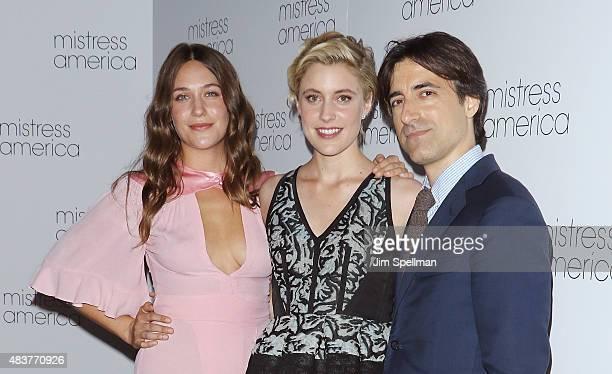 Actors Lola Kirke Greta Gerwig and director Noah Baumbach attend the 'Mistress America' New York premiere at Landmark Sunshine Cinema on August 12...