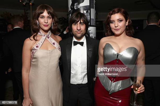 Actors Lola Kirke Jason Schwartzman and Hannah Dunne attend Amazon Studios Golden Globes Celebration at The Beverly Hilton Hotel on January 8 2017 in...