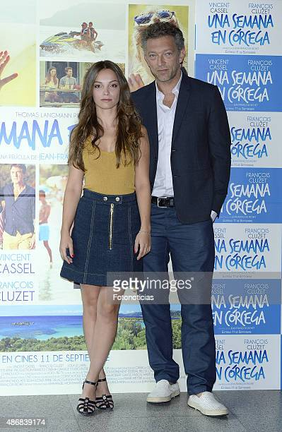 Actors Lola Le Lann and Vincent Cassel attend a Photocall for 'Un moment d'egarement' at the Instituto Frances on September 5 2015 in Madrid Spain