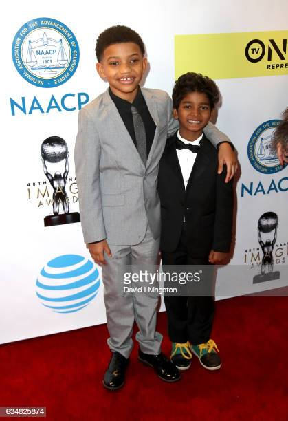 Actors Lonnie Chavis and Sunny Pawar attend the 48th NAACP Image Awards at Pasadena Civic Auditorium on February 11 2017 in Pasadena California