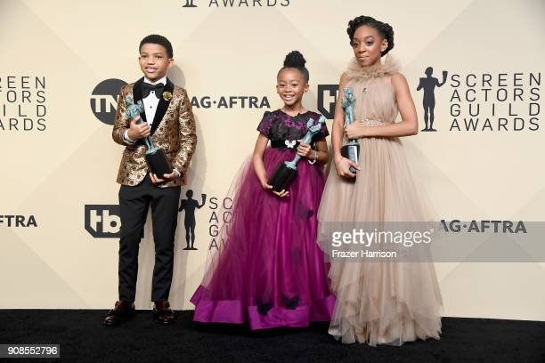 Actors Lonnie Chavis Faithe Herman and Eris Baker winners of Outstanding Performance by an Ensemble in a Drama Series for 'This Is Us' pose in the...