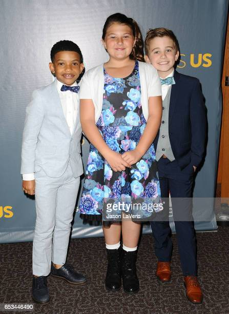 Actors Lonnie Chavis Mackenzie Hancsicsak and Parker Bates attend the finale screening of 'This Is Us' at Directors Guild Of America on March 14 2017...