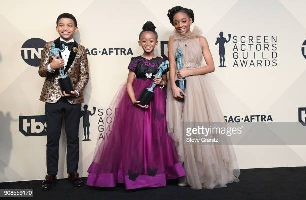 Actors Lonnie Chavisn Faithe C Herman and Eris Baker winners of the award for Outstanding Performance by an Ensemble in a Drama Series for 'This Is...