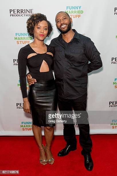 Actors Lony'e and Peyton Perrine arrive for the Screening Of Perrine Productions' 'Funny Married Stuff' at the ACME Comedy Theatre on November 7 2016...