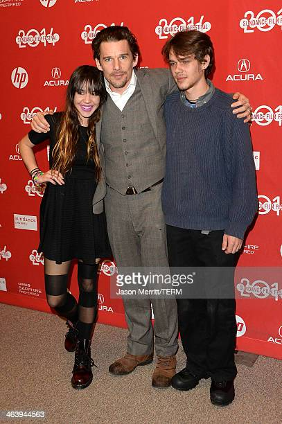 Actors Lorelei Linklater Ethan Hawke and Ellar Coltrane attend the Boyhood premiere at Eccles Center Theatre during the 2014 Sundance Film Festival...