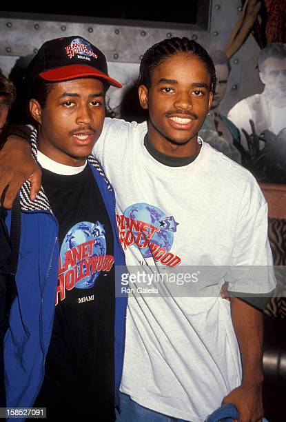Actors Lorenz Tate and Larron Tate attending the press conference for AntiViolence Youth Concert on June 3 1994 at Planet Hollywood in Miami Florida