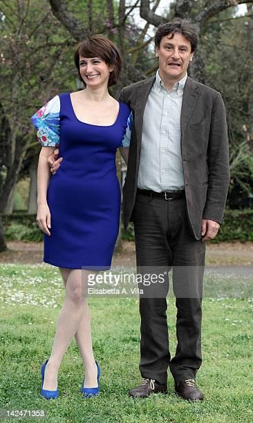 Actors Lorenza Indovina and Giorgio Tirabassi attend 'Benvenuti A Tavola' photocall at Casa del Cinema on April 5 2012 in Rome Italy