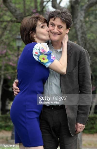 Actors Lorenza Indovina and Giorgio Tirabassi attend the 'Benvenuti A Tavola' photocall at Casa del Cinema on April 5 2012 in Rome Italy