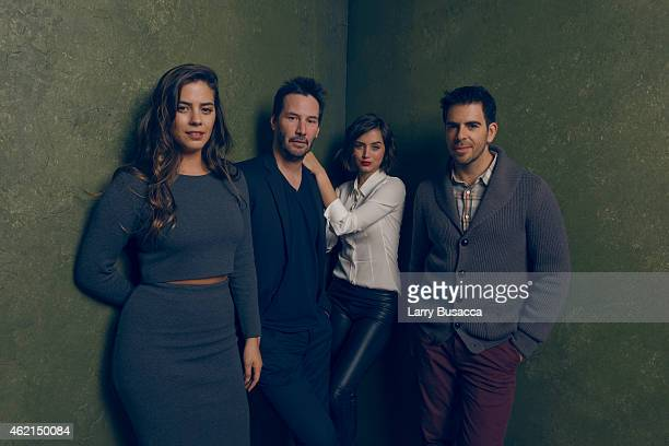 Actors Lorenza Izzo Keanu Reeves Ana de Armas and actor/producer Eli Roth from Knock Knock pose for a portrait at the Village at the Lift Presented...
