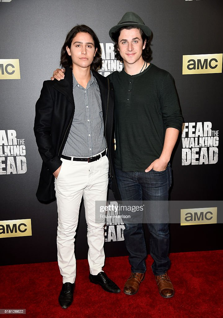 Actors Lorenzo James Henrie (L) and David Henrie attend the premiere of AMC's 'Fear The Walking Dead' Season 2 at Cinemark Playa Vista on March 29, 2016 in Los Angeles, California.