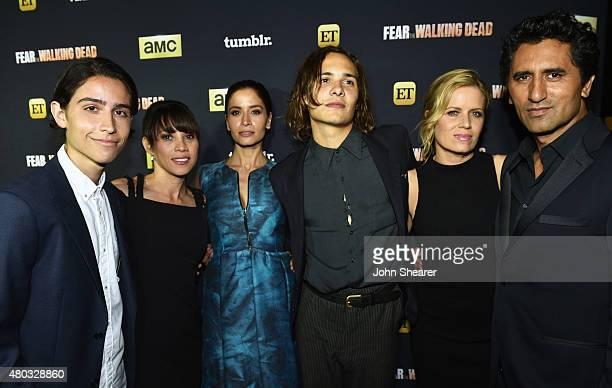 Actors Lorenzo James Henrie Elizabeth Rodriguez Mercedes Mason Frank Dillane Kim Dickens and Cliff Curtis attend AMC ET And Tumblr's 'Fear The...