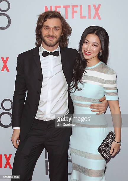 Actors Lorenzo Richelmy and Zhu Zhu attend the 'Marco Polo' New York series premiere at AMC Lincoln Square Theater on December 2 2014 in New York City