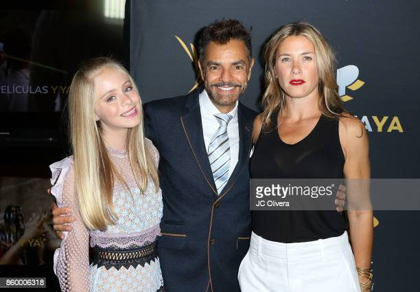 Actors Loreto Peralta Eugenio Derbez and Jessica Lindsey attend PANTAYA Launch Party at Boulevard3 on October 10 2017 in Hollywood California